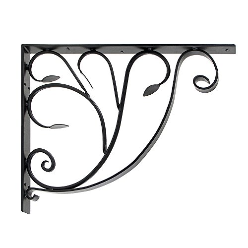 Achla Designs B-10 Leafy Leaf Mail Box Decorative Wrought Iron Mailbox Shelf Bracket, Black