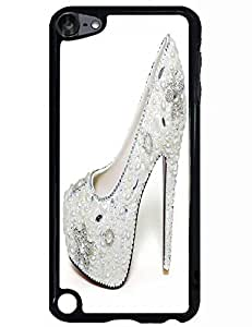 Special Designed Ipod Touch 5th TPU Case With White Floral Crystal High Heels Image