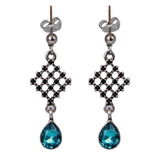 SOURBAN Crystal Grid Earrings Hollow Square Shape Drop Earrings Beads Teardrop Pendant Dangle Earrings