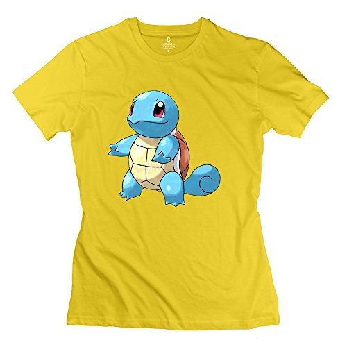 WSB Women's Tshirt Classic Pokemon Squirtle Design T Shirts Yellow Size L