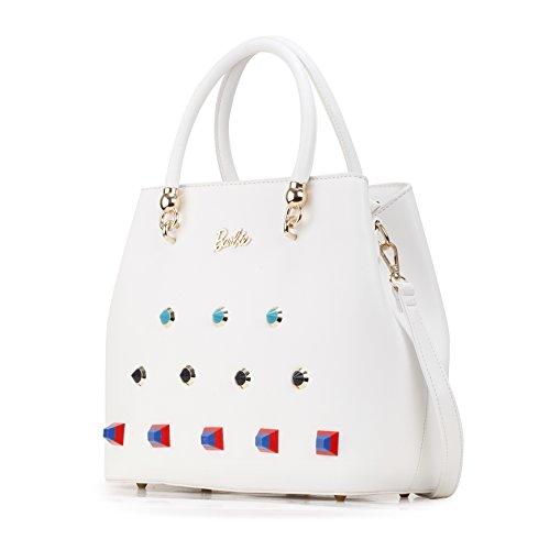 Barbie Bolso bandolera y baguette elegante de estilo chicas bolso casual con diamantes y cristal para mujer BBFB564 34x27x14CM blanco