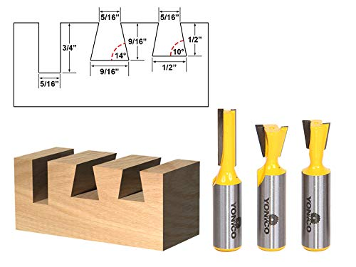 Yonico 14318 3 Bit Dovetail Router Bit Set with 10-Degree and 14-Degree 5/16-Inch Straight 1/2-Inch Shank