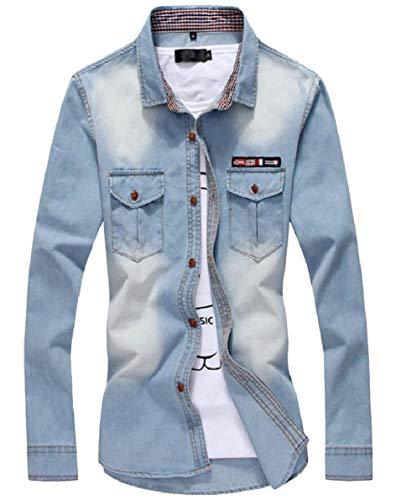 Mens Denim Camicie Pulsante Slim Fit A Per Blu Jeans au Abito Libero Leggero Il Tempo Lunghe Maniche Qianqian fp6q5xw7R