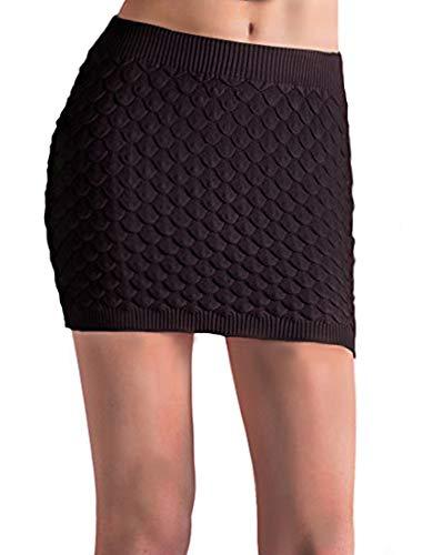 Tyche Women's Textured Sweater Knit Mini Skirt (Black)