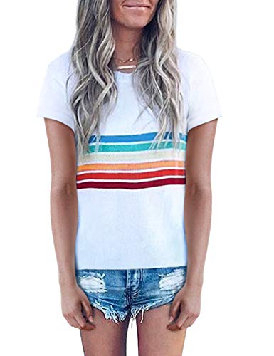 SEHOO Women's Short Sleeve Striped T Shirts Casual Color Block Tunic Tops (White,M) ()