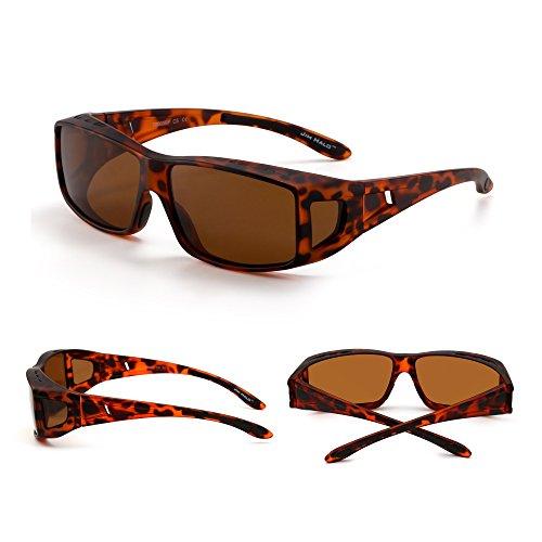 de Mujer Tortuga Nocturna Gafas Anteojos Over Polarizado Conducción Desgaste Polarizadas Marrón Fit Hombre Sol Swq64xqPvd