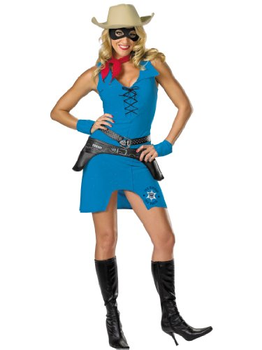 7 Piece Sexy Lone Ranger Costume Cow Girl Sherif Western Womens Theatrical Sizes: Medium (Lone Cowboy Adult Costume)