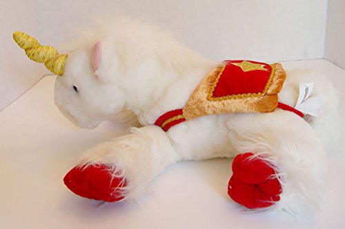 - Commonwealth White Unicorn Plush with Red and Gold Saddle 15 Inches Long