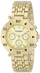 Akribos XXIV Women's AK686YG Conqueror Swiss Quartz Multifunction Diamond Accented Gold-tone Bracelet Watch