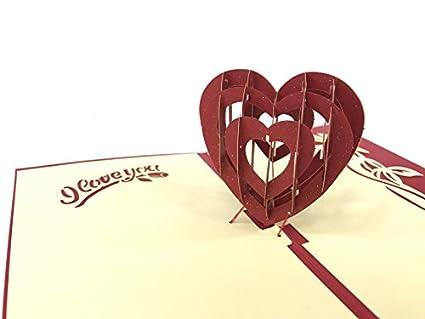3d Tarjeta tarjetas de San Valentín: corazón I Love You ...