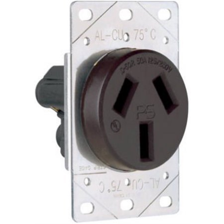 Pass & Seymour 3890CC6 Flush Outlet 50A Black (50a Flush)