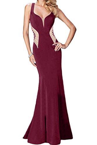 Promkleid Modisch Ivydressing Weinrot Etui Partykleid Lang Damen Abendkleid Festkleid Linie Chiffon Ballkleid 855wrTPqF