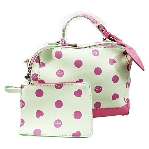 Camomilla Bauletto New Style Borsa da Donna Bauletto a Mano a Tracolla con Pochette Interna Rosa Bianco