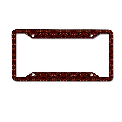 Jugbasee Dark Red Greek Key Scroll Tile License Plate Frame Glitter Waterproof License Plate Frame Cute Car Tag Frame 4 Holes