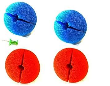 768ab3a0a77806 4 x lustige Clown Nasen bunt Mix rot-blau 5 cm für Erwachsene oder Kinder