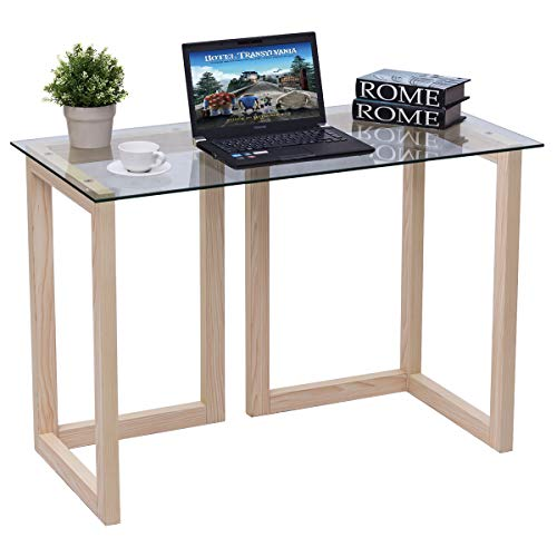 Tangkula Computer Desk Glass Top Computer Desk Modern Home Office Workstation with Spacious Glass Top Work Surface Laptop PC Desk Portable Study Writing Table (Wood Frame and Clear Glass) ()