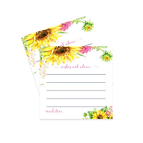 Sunflower Advice and Wishes - Wedding, Party, Baby - Pack of 25