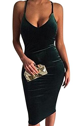 Carprinass Women's Sleeveless Bodycon Midi Dress Velvet Club Bandage Dress,Large,Green