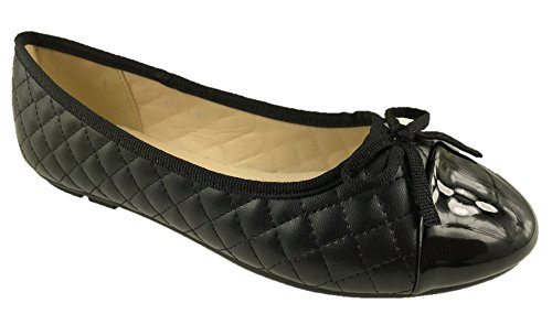 Nero Dolly Scarpe Footwear Fashion Pumps Da Mc Ladies Uk Flat Ballerina 8 Lavoro 3 Bow Detail Taglia XqpannCU4