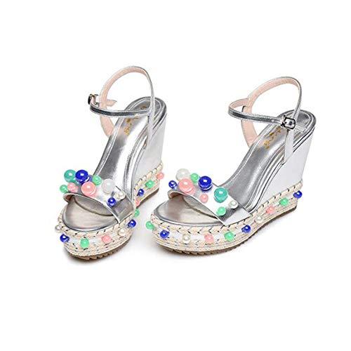 Imperméables Cales Sandales De D'été Thick Petite Silver Mode soled Weave Taille Couleur Perles Chaussures Jingsen 33 Silver couleur xYw4qBnAI