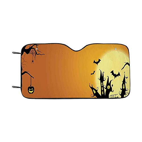 Halloween Decorations Durable Car Sunshade,Gothic Haunted House Bats Western Spooky Night Scene with Pumpkin for car,55