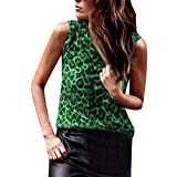 Women's Tank Tops Leopard Print Vest Sexy Casual Sleeveless Cotton T-Shirts O Neck Slim Blouse by BOLUBILUY
