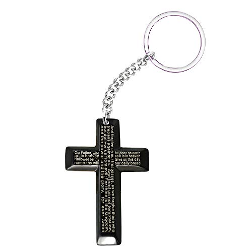 - Paris Selection Men's Stainless Steel Simple Black Cross Pendant Lord's Prayer Keychain