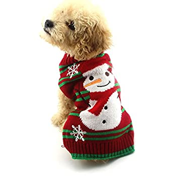 NACOCO Dog Snow Sweaters Snowman Sweaters Dog Sweaters New Year Christmas sweater Pet Clothes for Small Dog and Cat (Snowman, Small)