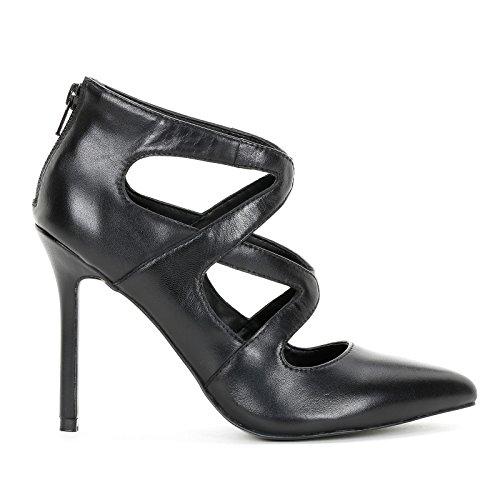 Alesya by Scarpe&Scarpe - Zapatos EN Jaula con Punta Alargada, de Piel - 38,0, Negro