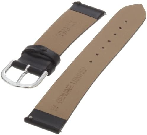 Timex Mens Q7B730 Calfskin 18mm Black Replacement Watchband