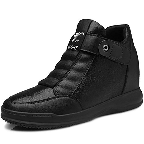 High Top Wedge Sneakers for Womens - Anti-slip Rubber Sole Round Toe Casual Shoes Black