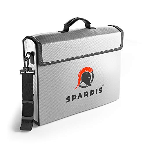 Spardis XXL (16 x 12 x 3.5) Fireproof Document Safe Bag with Locking Zipper - Heat Resistant to 2100 F Degrees with Dual Layer Silicone Coated Fiberglass and Heat Blocking Aluminum