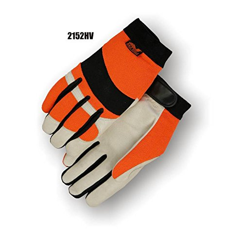 (12 Pair) Majestic PIGSKIN GLOVES WITH HIGH VISIBILITY KNIT BACK - XTRA SMALL, BEIGE(2152HV/ 7)