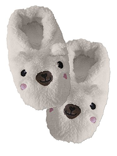 Cozy Soft Warm Fluffy Plush Slippers Ivory (Pj Salvage Womens Slippers)