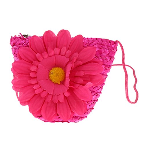 Zipper as Mini Girls Fenteer Red Yelllow Wallet Crossbody Womens Flower Rose Shoulder Bag described Casual Outdoor Straw ptTxxnq