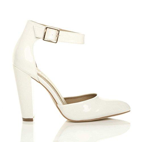 55f1102e40d3e ... Pointure Escarpins Ajvani Talon Femmes Haute Large Blanc Chaussures  Lanière Pointu Verni Boucle xxzSqH0FZ ...