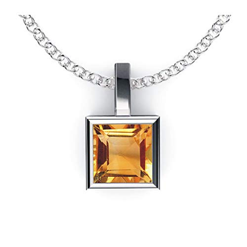 Solid Sterling Silver Square Shaped Bezel Set 1.8 CTW Citrine Pendant Necklace with Anchor Chain, High Polished Pendant Necklace for Women, Bridal Pendants