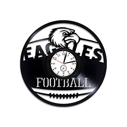 Kovides Philadelphia Eagles Vinyl Wall Clock Eagles Gift Philadelphia Eagles Gift for Man Eagles Vinyl Record Wall Clock American Football Wall Clock Vintage Eagles Clock Sport Gift Vinyl Clock