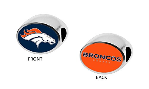 Final Touch Gifts Denver Broncos2-Sided Bead Fits Most Bracelet Lines Including Pandora, Chamilia, Troll, Biagi, Zable, Kera, Personality, Reflections, Silverado and More (Bead Silverado Charm)
