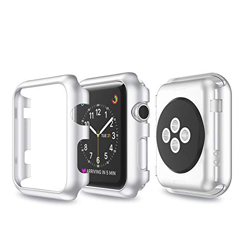 Cywulin Compatible with Apple Watch Case 38mm 42mm, Rugged Armor Bumper Hard PC Protective Shell Frame Anti-Scratch Shock Proof Protector for iWatch Series 3 2 1 Sport Edition (38mm, Silver)