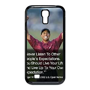 Samsung Galaxy S4 Case Tiger Woods Typography, Samsung Galaxy S4 Case Tiger Woods for Girls Protective, [Black]