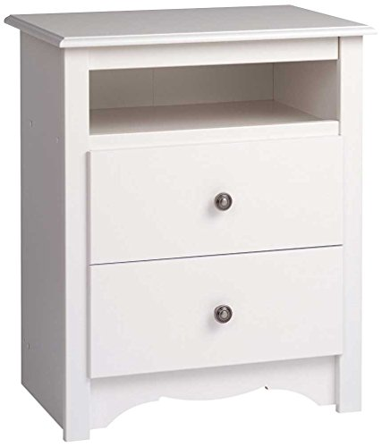 Prepac Monterey White 2-Drawer Tall Night Stand
