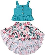 RSRZRCJ Kids Toddler Baby Girls Spring Summer Outfit Ruffle Strap Crop Top Floral Irregular Long Skirt 2PCS Cl