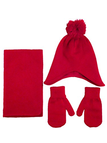3 Pieces Winter Knit Fleece Pompom Beanie Hat, Scarf, & Glove Set, Red by YoungLove (Image #1)'