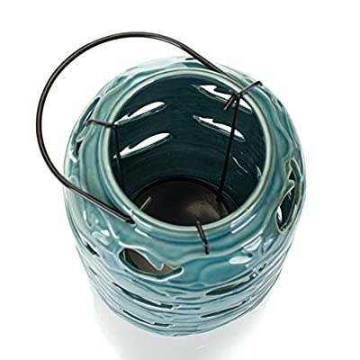 Drew DeRose Glossy Blue Nautical Whale 9 x 5 Ceramic Tabletop Lantern With Handle : Garden & Outdoor