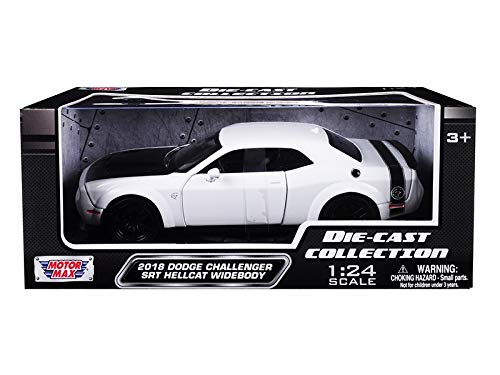 (2018 Dodge Challenger SRT Hellcat Widebody White with Black Hood 1/24 Diecast Model Car by Motormax 79350)