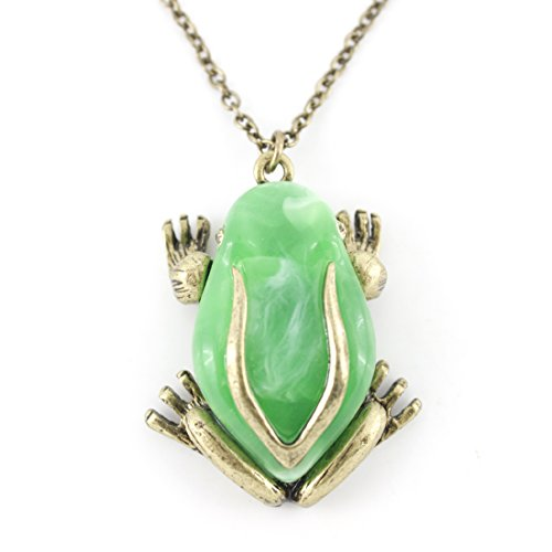 Prince Charming Costumes Snow White (Gold Tone Green Frog Pendant Necklace)
