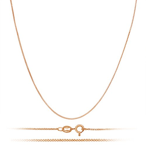 Chain Gold Plated Necklace (Rose Gold Plated Sterling Silver Necklace - 1mm Box Chain - Hypoallergenic and Tarnish Resistant - Classic Design and Comfortable Fit - 16