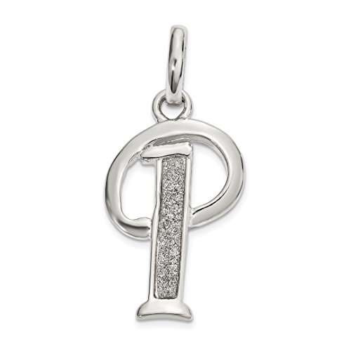 (925 Sterling Silver Glitter Enamel Letter P Pendant Charm Necklace Initial Fine Jewelry For Women Gift)