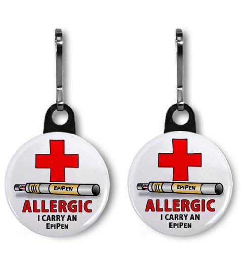 ALLERGY ALERT EPIPEN 2-Pack of 1 inch Zipper Pull Charms